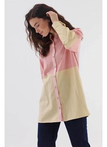Vivencia Renk Bloklu Kadın Gömlek Hardal  Kiremit